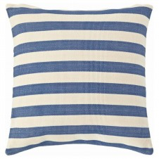 dash & albert trimaran stripe denim ivory indoor/outdoor pillow