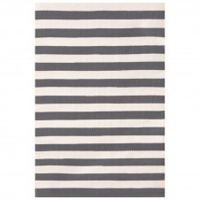 dash & albert trimaran stripe graphite ivory indoor/outdoor rug