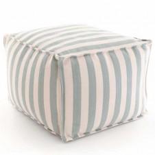 dash & albert trimaran stripe light blue ivory indoor/outdoor pouf