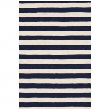 dash & albert trimaran stripe navy indoor/outdoor rug