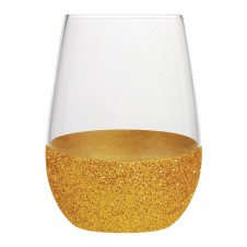 gold glitter stemless wine glass