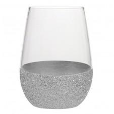 silver glitter stemless wine glass