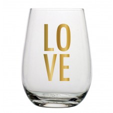 love stacked stemless wine glass