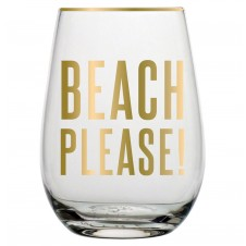 beach please! stemless wine glass