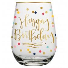 happy birthday stemless wine glass