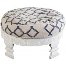 surya navy & ivory kilim footstool