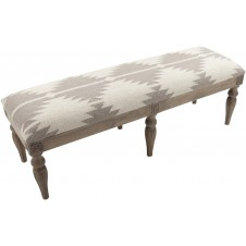 surya camel & grey wool bench