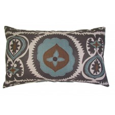lacefield applique grey suzani with aquamarine and olive linen lumbar pillow