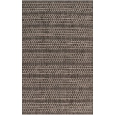 isle collection black & grey lattice polypropylene rug
