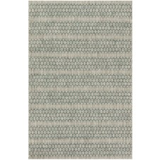 isle collection grey & teal lattice polypropylene rug