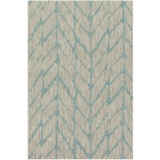 isle collection mist & aqua feather polypropylene rug