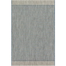 isle collection grey & blue chevron polypropylene rug