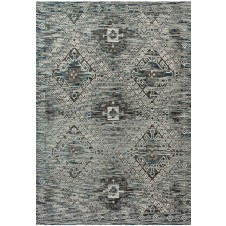 izmir collection blue & charcoal polypropylene rug