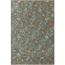izmir collection taupe & aqua polypropylene rug