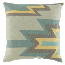 lacefield kilim linen applique pillow with seafoam, aquamarine, stone and lemongrass