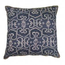 lacefield bengali indian blue pillow with jute eyelash trim