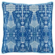lacefield bombay cobalt pillow with trellis cobalt gusset and sky linen flange