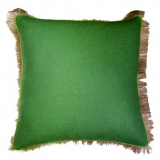 lacefield kelly green linen pillow with lime green pipe and jute fringe