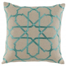 lacefield persian tile spa embroiderey pillow on natural linen