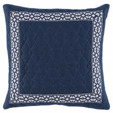 lacefield quilten denim linen pillow with navy florence tape