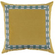 lacefield quince velvet pillow with amalfi glass tape