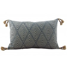 lacefield tahitian stitch sapphire lumbar pillow with tassels