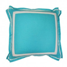 lacefield turquoise linen pillow with natural twill tape