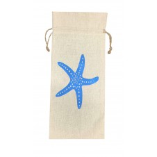 starfish linen wine bag