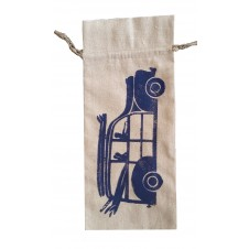 woody linen wine bag