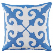 lacefield mosaic applique royal blue and oyster linen pillow