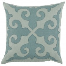 lacefield mosaic applique pillow with seafoam and aquamarine linen
