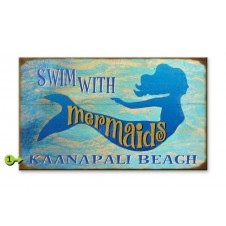 swim with mermaids customizable wood sign