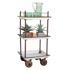 recycled enamel trays bar cart with wooden casters