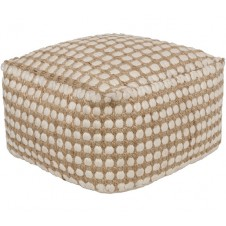 surya oak cove white & khaki pouf