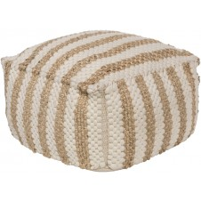surya oak cove stripe white & khaki pouf