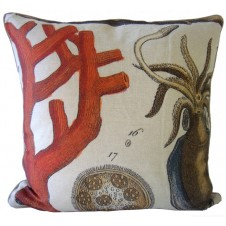 orange coral and squid pillow