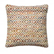 textured orange & multi diamond pillow