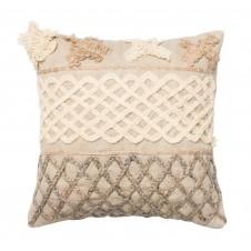 beige & brown applicade pillow