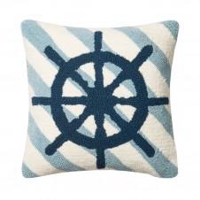 diagonal stripe ship wheel pillow
