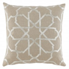 lacefield persian tile ivory embroidery pillow on natural linen
