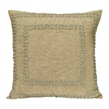 natural linen small studded pillow
