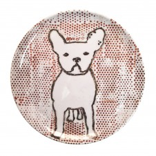frenchie with dots melamine plate set of 4