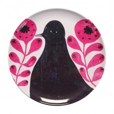 black bird in flowers melamine plate set of 4