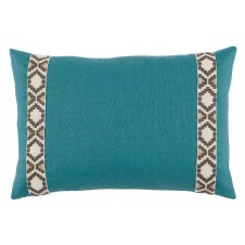 lacefield plasma linen pillow with fossil on off white camden tape