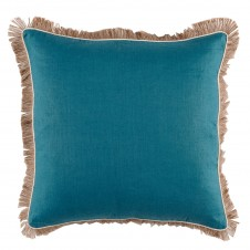 lacefield plasma linen pillow with eggshell pipe and jute fringe