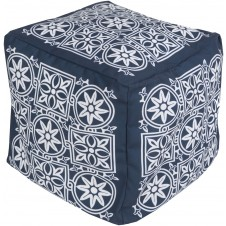 surya outdoor block print rain pouf in navy & blush
