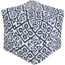 surya outdoor rain pouf in navy & blush