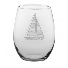 sail boat stemless wine glass