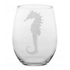 seahorse stemless wine glass