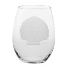 seashell stemless wine glass